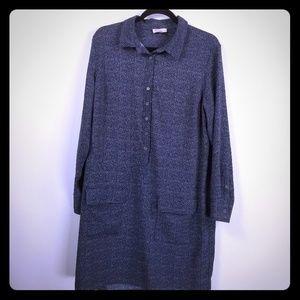 Lila rose collard shirt dress size 12 navy
